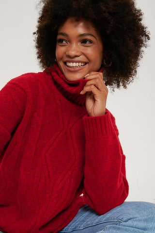 Red Cable Knit Polo Sweater