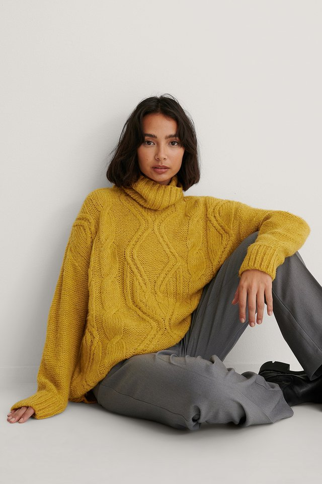Cable Knit Polo Sweater Yellow