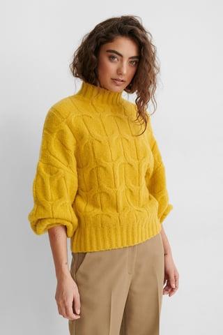 Yellow Jersey De Punto Trenzado