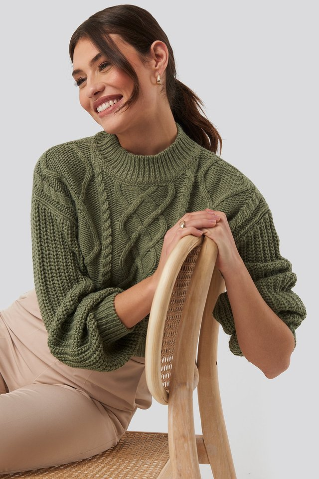 Cable Knitted Balloon Sleeve Sweater Khaki