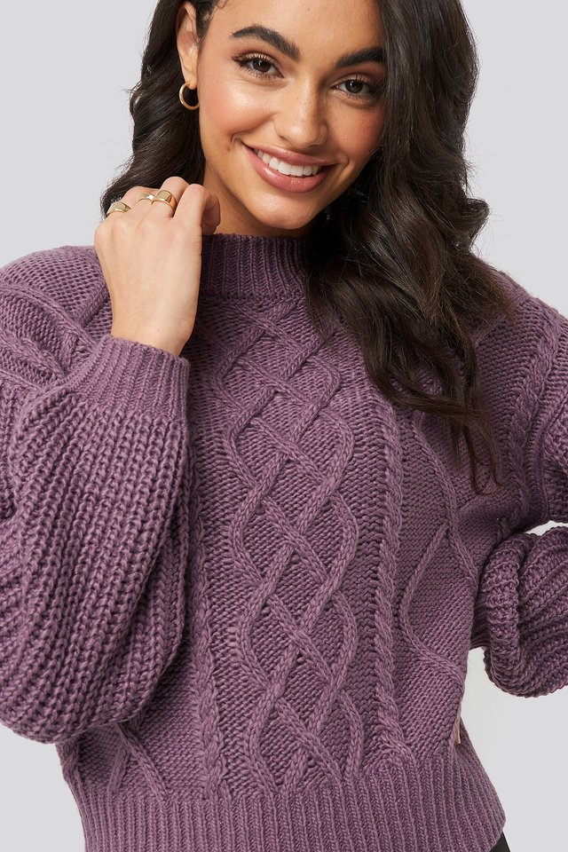 Cable Knitted Balloon Sleeve Sweater Dark Purple