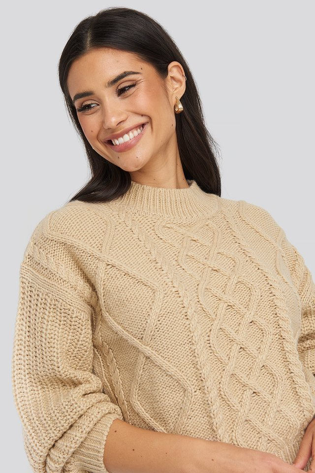 Light Beige Cable Knitted Balloon Sleeve Sweater