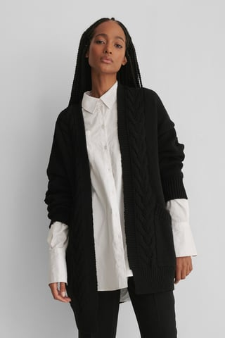 Black Cable Knitted Cardigan