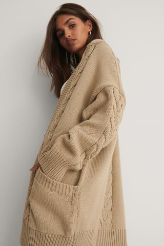 Beige Cable Knitted Cardigan