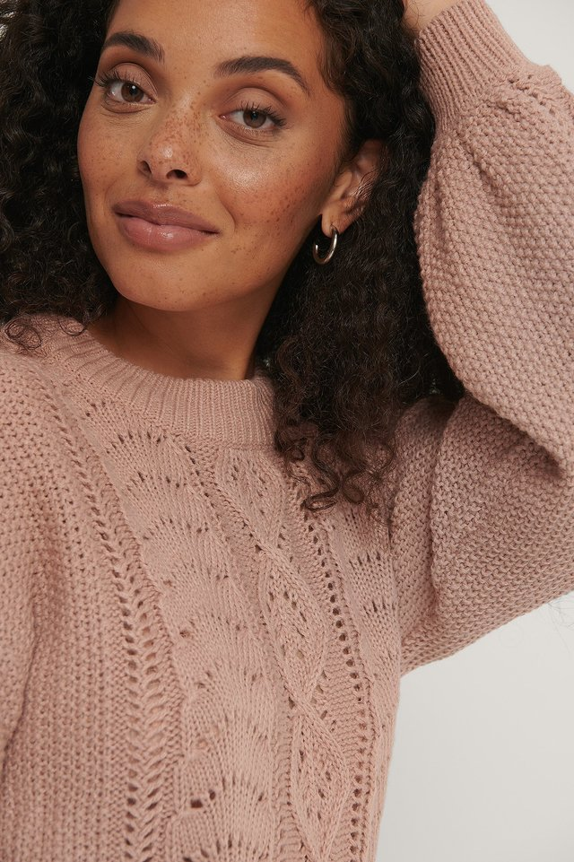 Dusty Pink Cable Knitted Cropped Sweater