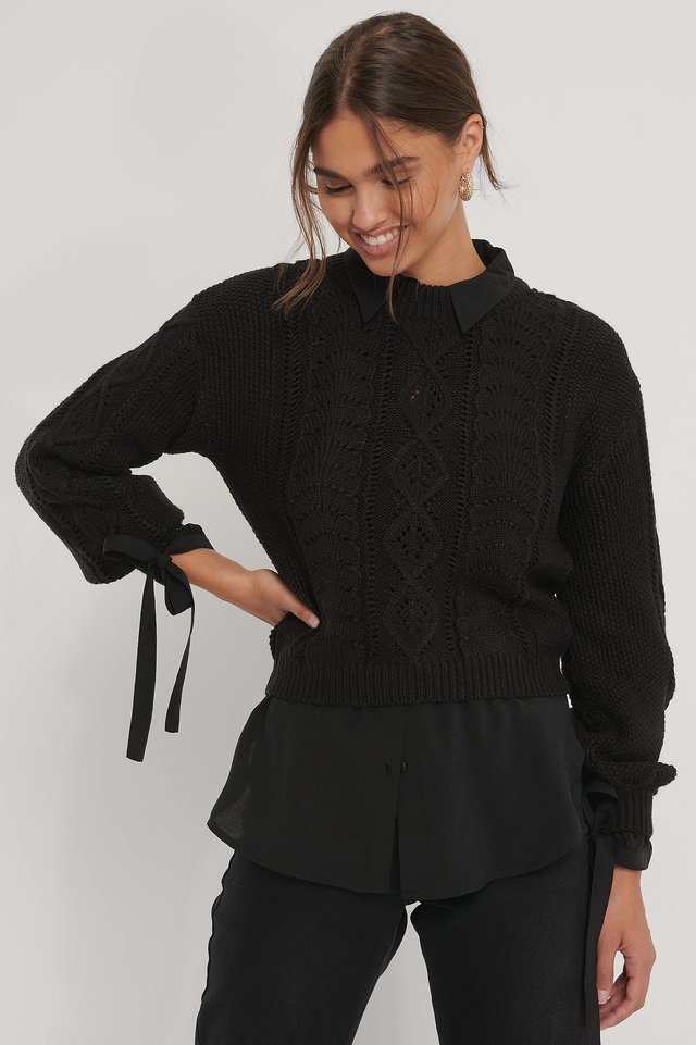 Cable Knitted Cropped Sweater Black
