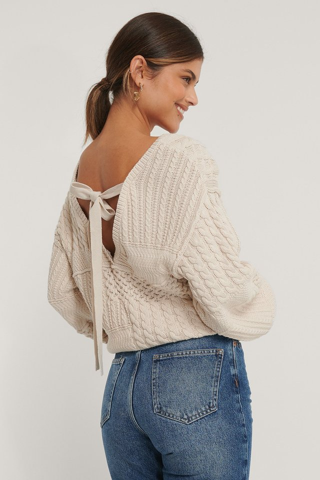 Organic Cable Knitted Deep Back Sweater Light Beige
