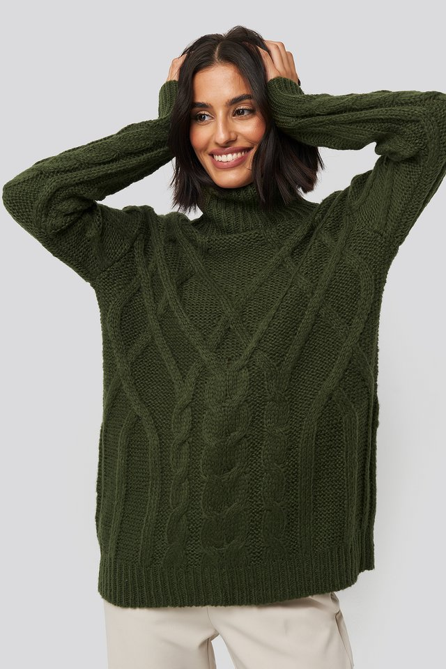 Cable Knitted High Neck Sweater Dark Green