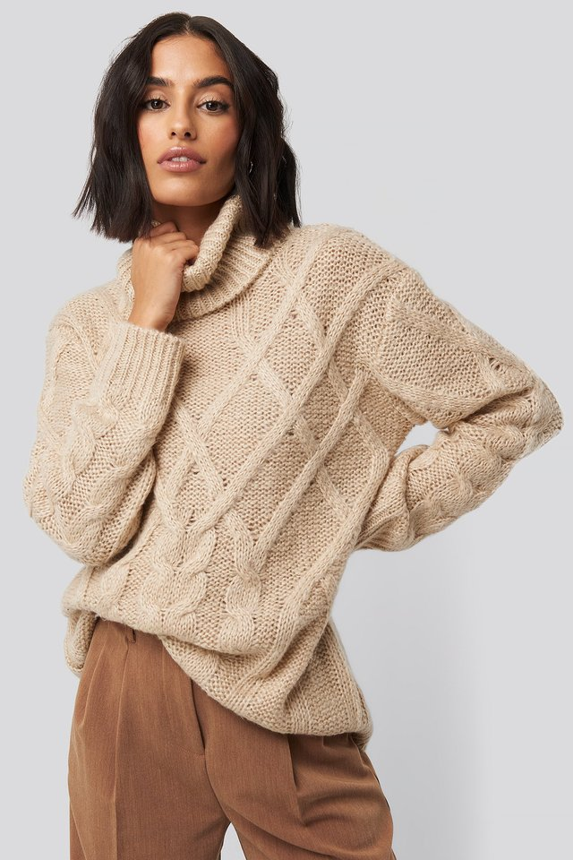 Cable Knitted High Neck Sweater Light Beige