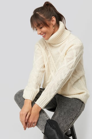 Offwhite Cable Knitted High Neck Sweater