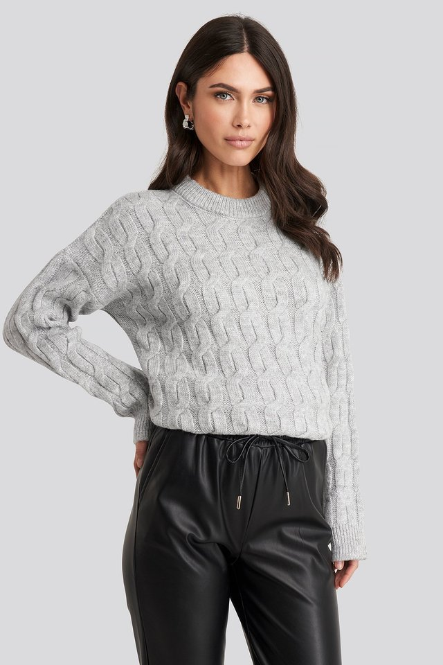 Cable Knitted Oversized Sweater Light Grey