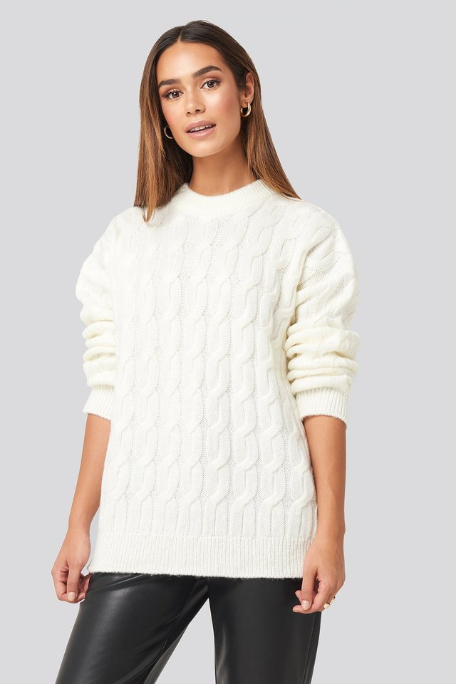 Offwhite Cable Knitted Oversized Sweater