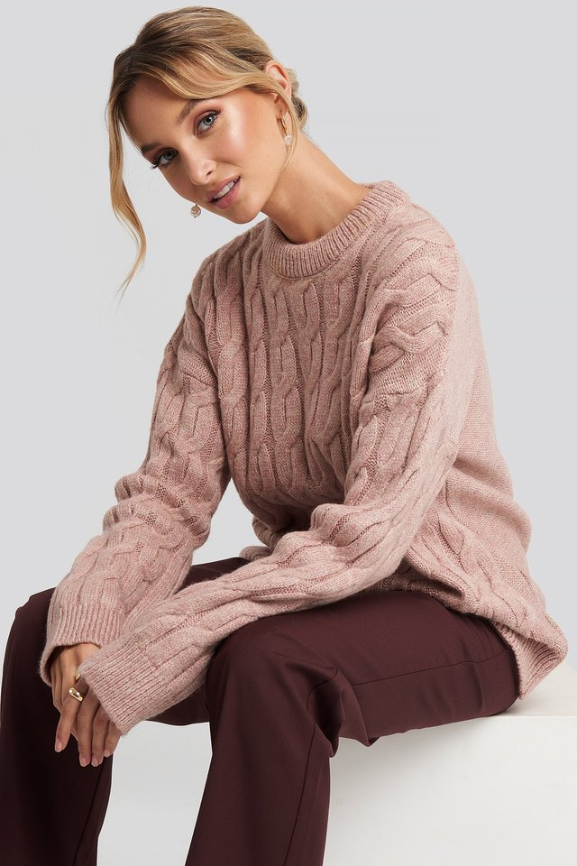 Cable Knitted Oversized Sweater Dusty Light Pink