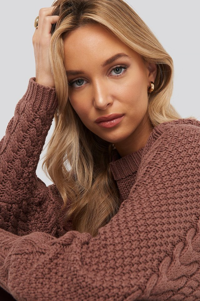 Cable Knitted Ribbed Sleeve Sweater Dusty Dark Pink