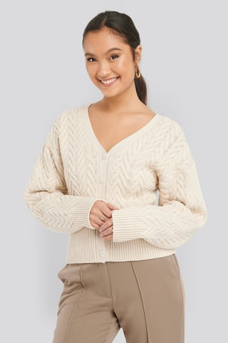 Light Beige Cable Knitted Short Cardigan
