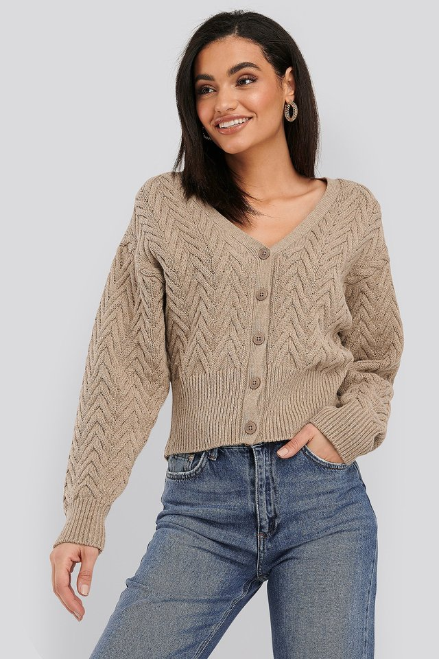 Cable Knitted Short Cardigan Mole
