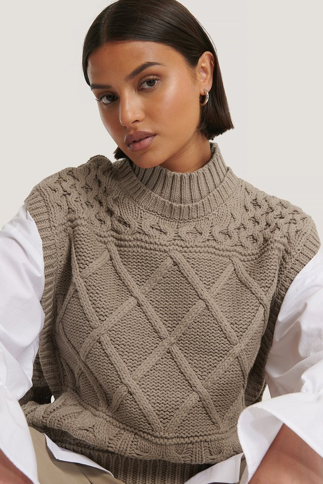 Nougat Cable Knitted Vest