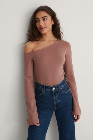 Dusty Dark Pink Asymmetric Shoulder Top