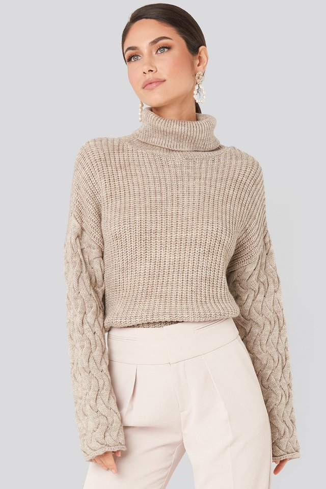 Beige Cable Sleeve High Neck Sweater