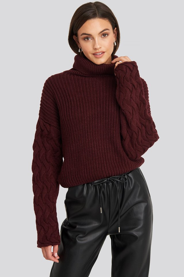 Cable Sleeve High Neck Sweater Burgundy