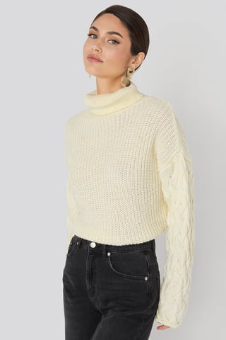Offwhite Cable Sleeve High Neck Sweater