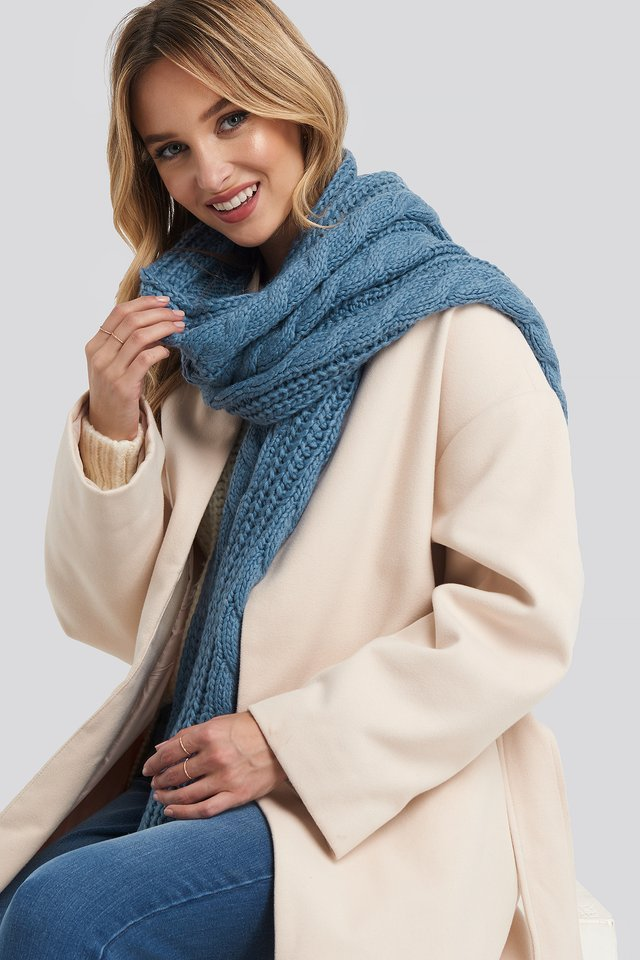 Cableknit Scarf Moonlight blue