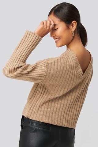 Beige Camilla Frederikke Open Back Knitted Sweater
