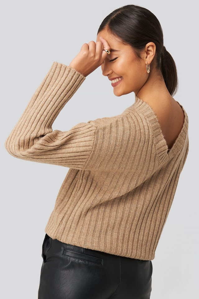 Camilla Frederikke Open Back Knitted Sweater Beige