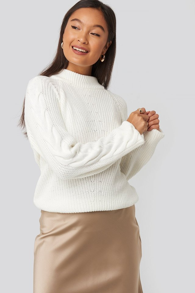 Camilla Frederikke Sleeve Detail Knitted Sweater White