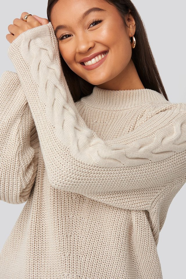Camilla Frederikke Sleeve Detail Knitted Sweater Beige