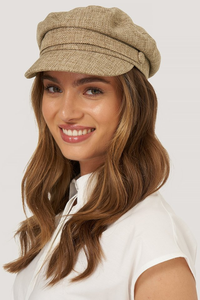 Beige Canvas Baker Boy Cap