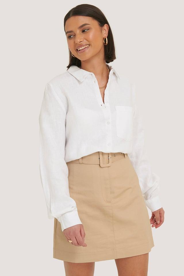 Cargo Belted Cotton Skirt Beige