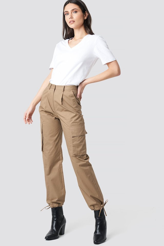 Cargo Wide Leg Pants Beige