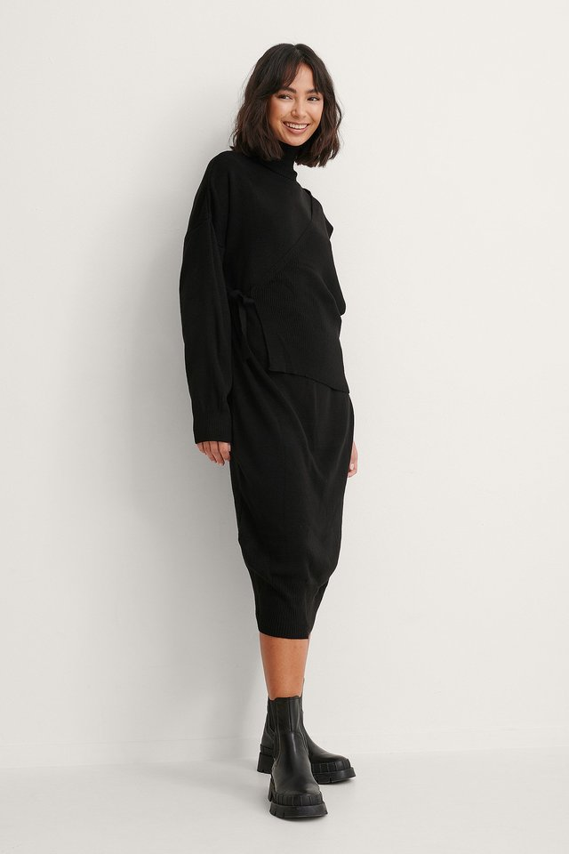 Black Carmen Knit Midi Dress