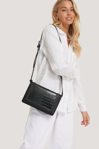 Black Chain Detail Croc Bag