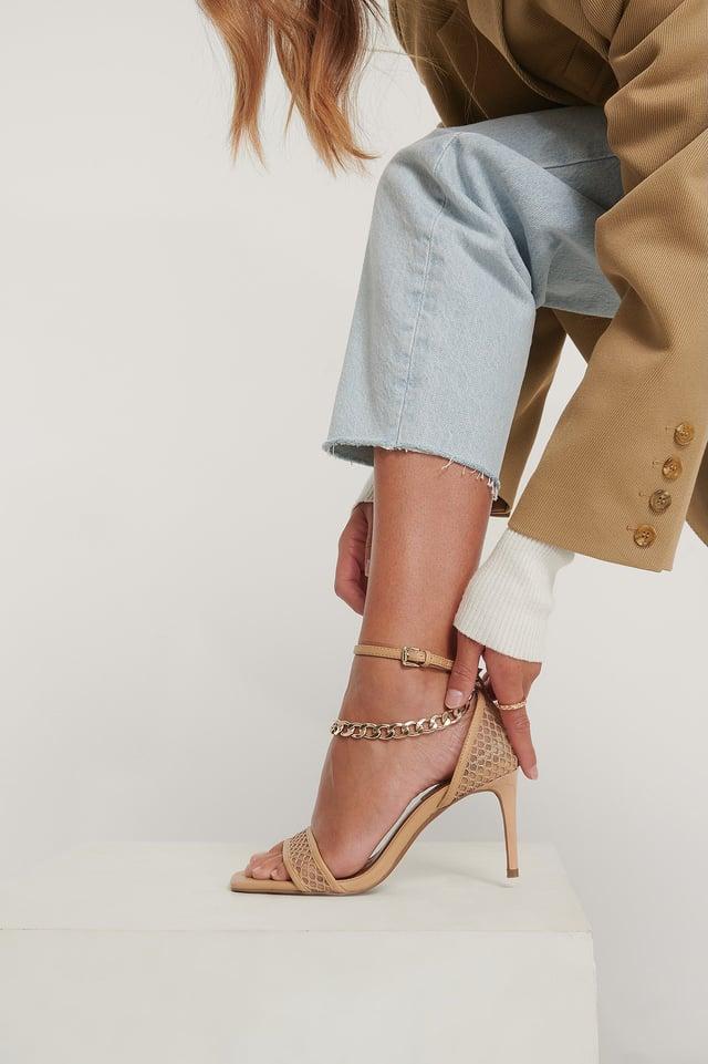 Beige Chain Detailed Mesh Heels