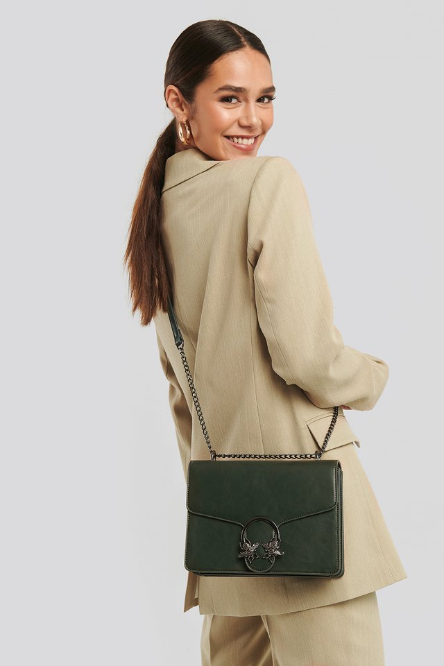 Chain Strap Flap Bag Dusty Green