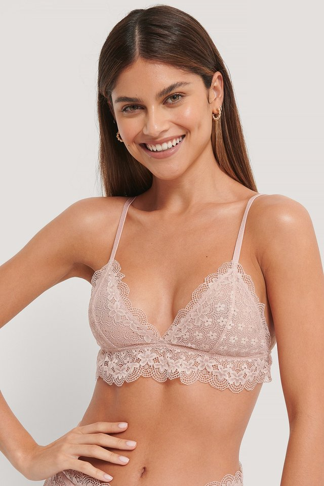 Chantilly Lace Bralette Dusty Pink