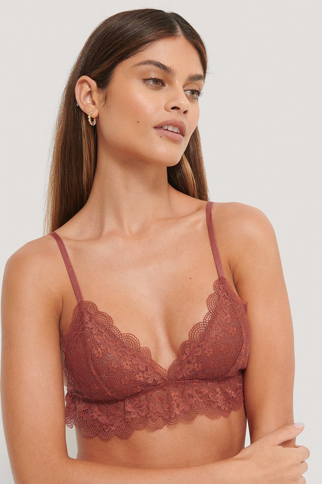 Chantilly Lace Bralette Dusty Red
