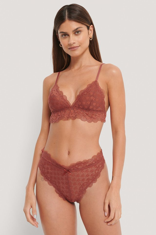 Chantilly Lace Cheeky Panty Dusty Red