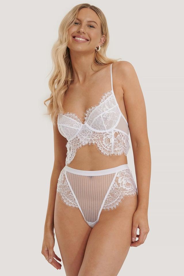 Chantilly Lace Highwaist V-string Panty White