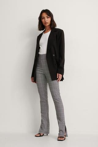 Grey Big Check Check Stretch Slit Pants
