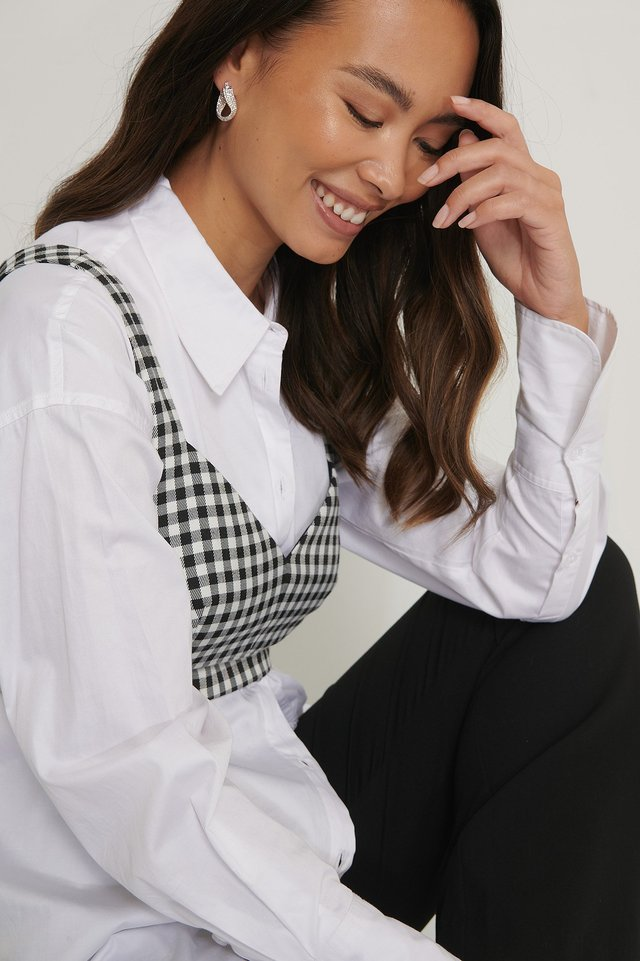 Check Tailored Cropped Top Black/White