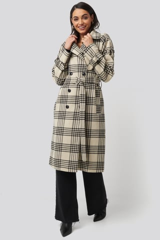 Checked Checked Belted Coat