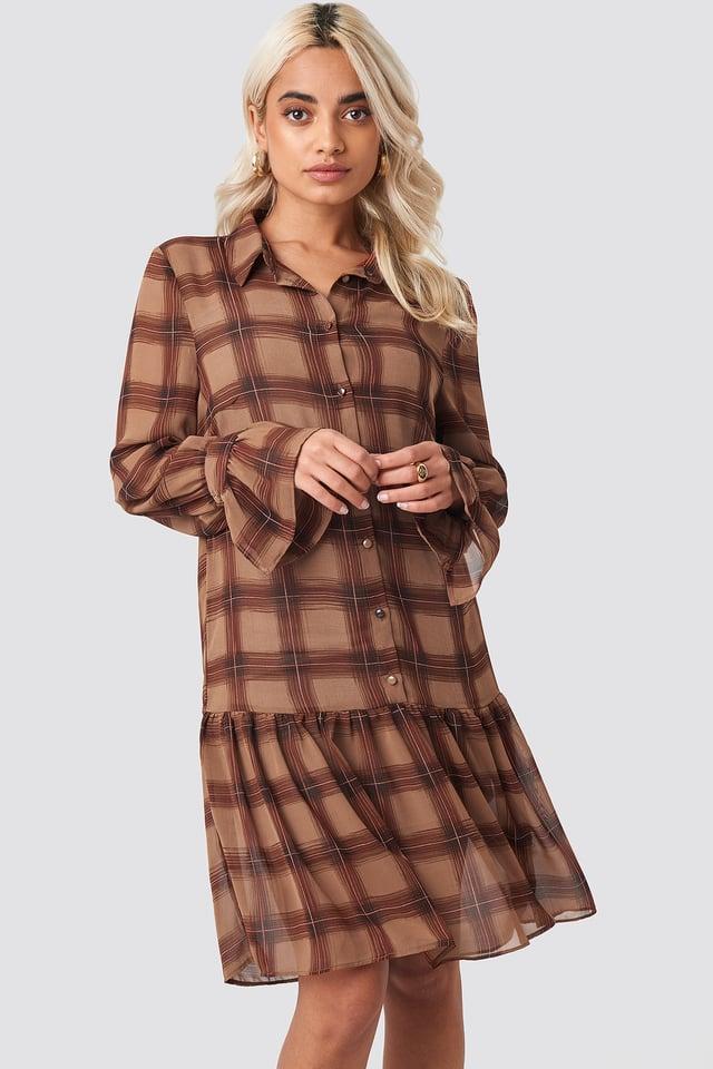 Checked Chiffon Shirt Dress Brown