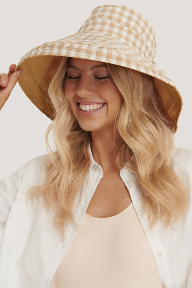 Beige Checked Oversize Bucket Hat