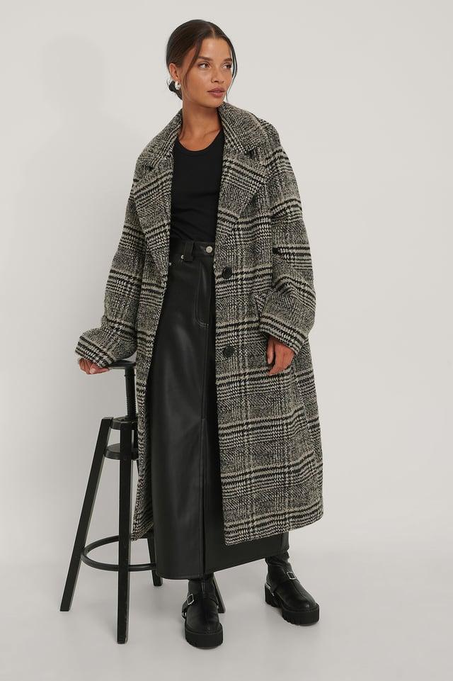 Checked Oversized Coat Black
