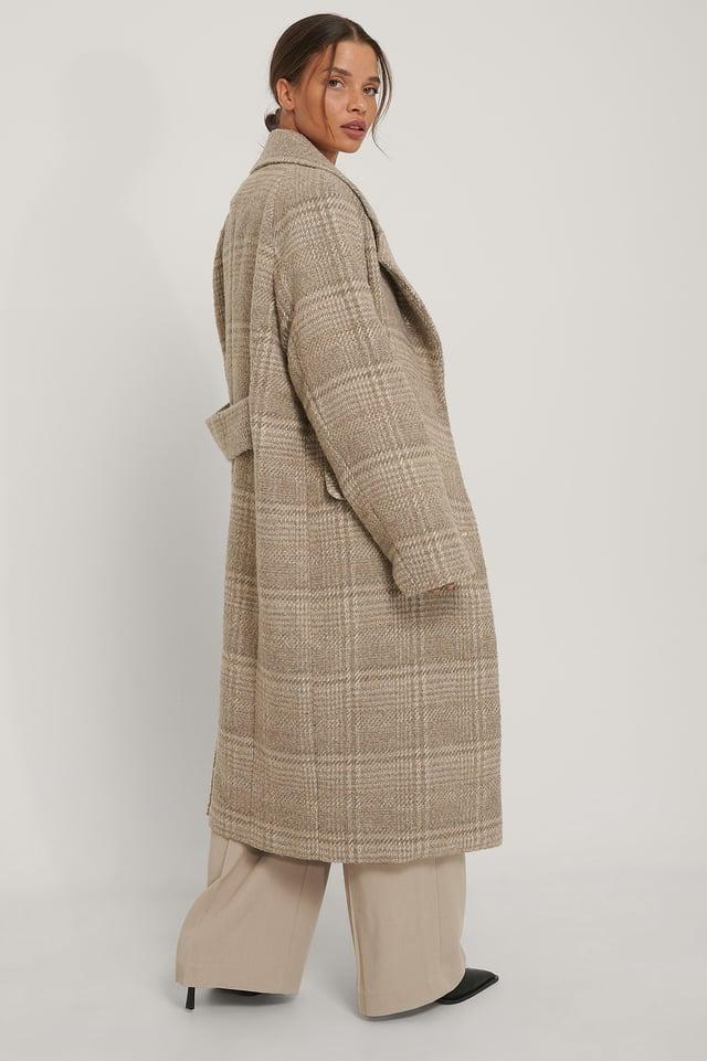 Luźny Płaszcz W Kratkę Beige
