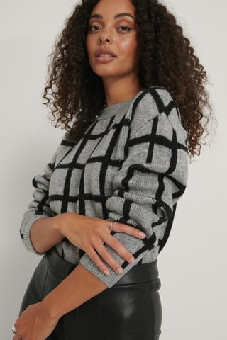 Grey/Black Checked Pattern Knitted Sweater