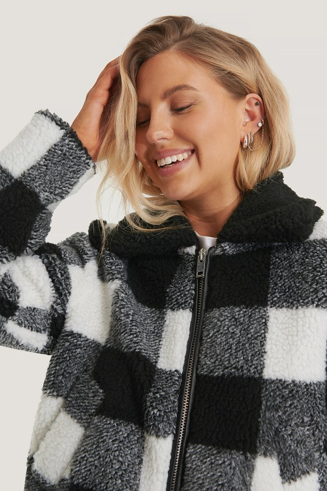 Checked Teddy Jacket Black/White